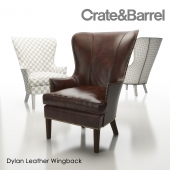 Dylan Leather Wingback Chair Crate and Barrel