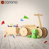 Wooden car with toys