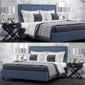 Кровать TOV Furniture Reed Navy Velvet Tufted