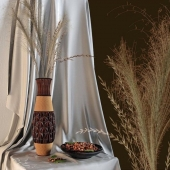 Decor with nuts and bamboo vase