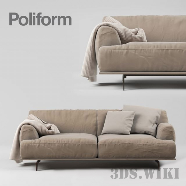 Sofa by Poliform with pillow and plaid