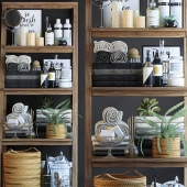 Shelving in the bathroom with plants
