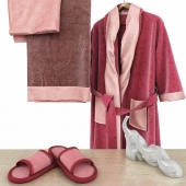 Bathroom set with red bathrobe