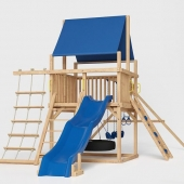 Playground with a blue slide