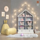 Toys and furniture with garland