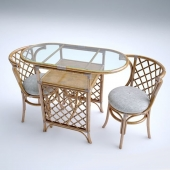 Wicker furniture, table and chair