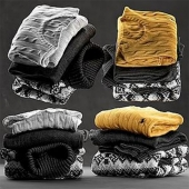 Set of folded sweaters