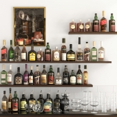 Shelves with bottles of alcohol