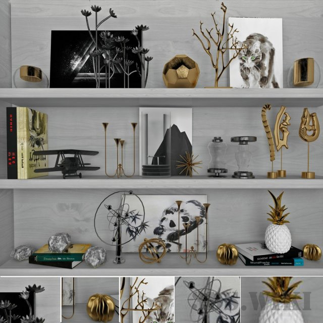 Decor set with golden figures