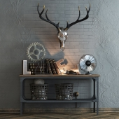 Decor set with a deer skull
