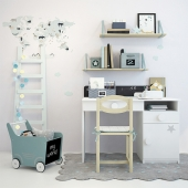 Children's desk, chair and decor