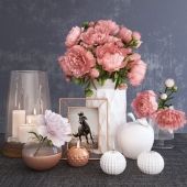 Decorative set with peonies and candles