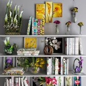 Decorative set with flowers, pictures and books