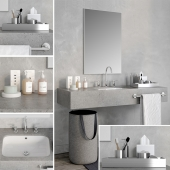 Realistic 3d model bathroom set