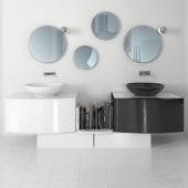 White and black sinks and mirrors