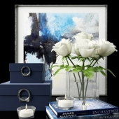 Decor set with boxes and white roses