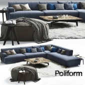 Poliform Soho corner sofa Elise Mad Tribeca Coffe Table