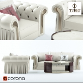 Sofa, chair, coffee table Turri Couture