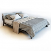 Modern bed with bedclothes