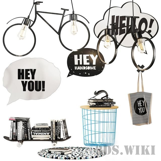 Bag, bike-lamps, skateboard with books