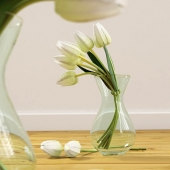 Glass vase curvy with tulips