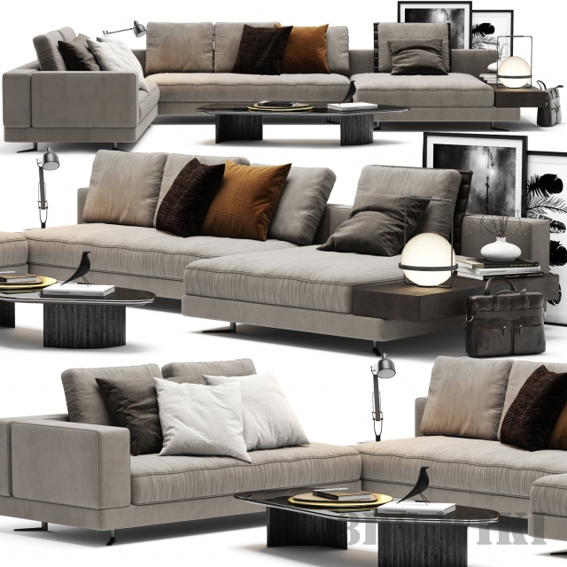 White Sofa by Minotti 3d model
