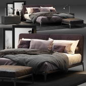 Poliform Park Uno Bed with lamps, pouf, pictures