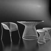 Tables and chairs with mesh base