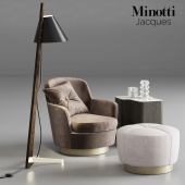 Minotti Jaques armchair with pouf and lamp