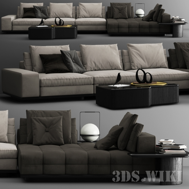 Lawrence sofa C by Minotti (max 2012 Vray)