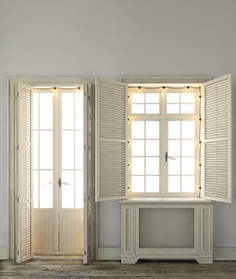 Windows with shutters and backlighting