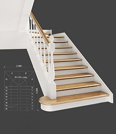 Classic two-march staircase with staggered steps