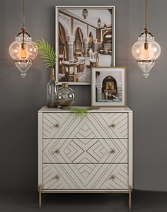 Chest of solid wood Embury Anthropologie and Alcazar Pendant lamp