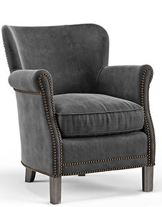 Belgian Club armchair with Nailheads