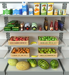 Rack with products