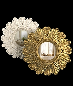 Mirror Lila Floral Gold, Lila Floral Ivory by Laura Ashley