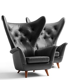 Black leather Wing lounge chair 1950s