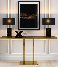 Console in gold and black marble finishes
