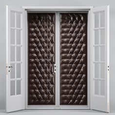 Double leather tufted glass doors