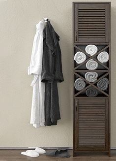 Wardrobe with towels and bathrobes