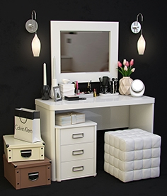 Dressing table with decorative set 1