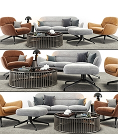 Minotti Jensen armchair and sofa set