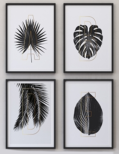 Letters Plants Framed Set-01