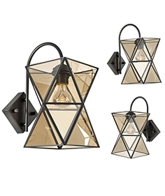 Sconce PolyPyramid Glass Bra Cognac