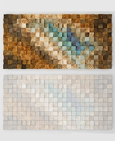 Wood wall mosaic - Art Glamour