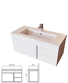 Stand BelBagno Luce BB1000VAC  BL white with washbasin