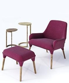 CULT - Plum armchair and Cult - Nest tables