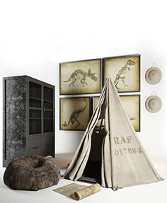 Restoration hardware Wigwam, cupboard, hat, ottoman, paintings