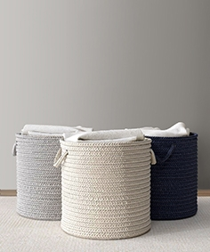 RH braided wool hamper