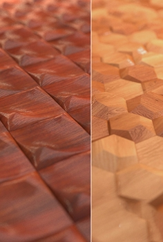 Relief wooden wall tiles